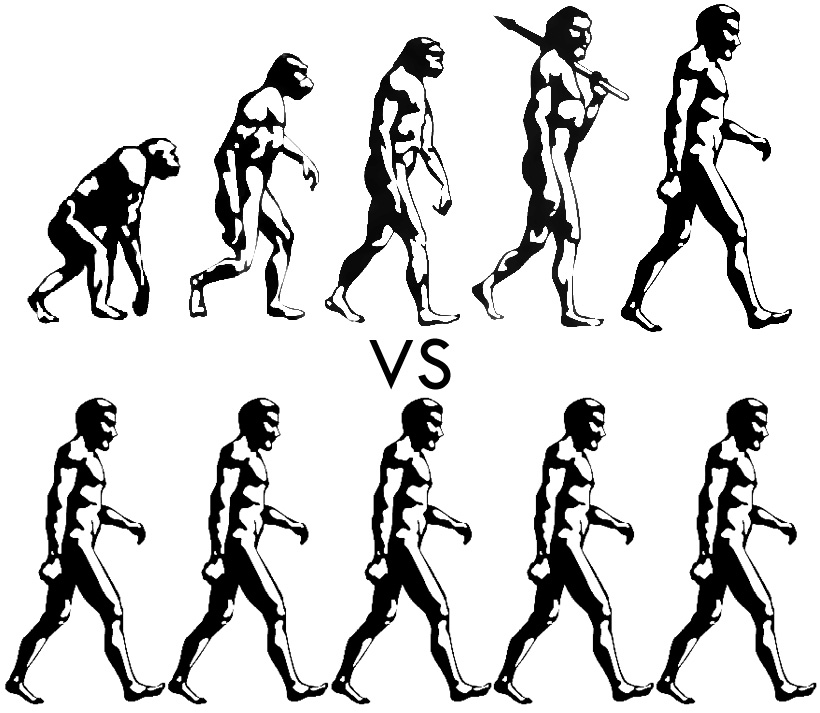 Image of monkeys evolving into man vs man always being man.